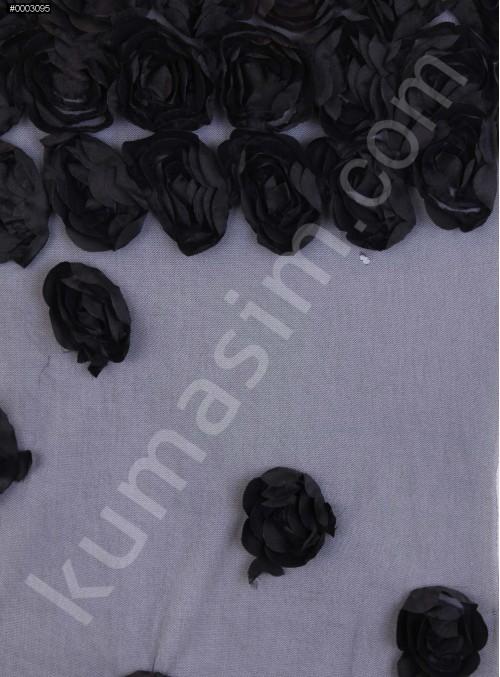 3 Boyutlu Lazer Kesim Eteği Sulu Siyah Lase Kumaş - K9539