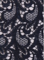 Şal Desenli Siyah Abiyelik Güpür Kumaş - K9542