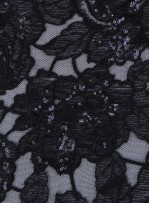 Gül Desenli Nakış Üzeri Payetli Siyah Abiyelik Kumaş - K9546