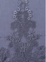 Osmanlı Desenli Siyah Gümüş Abiyelik Kumaş - K9551