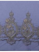 Osmanlı Desenli Lacivert Gold Abiyelik Kumaş - K9552