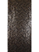 Dalga ve Kare Desenli Siyah Gold Payetli Kumaş - K9556