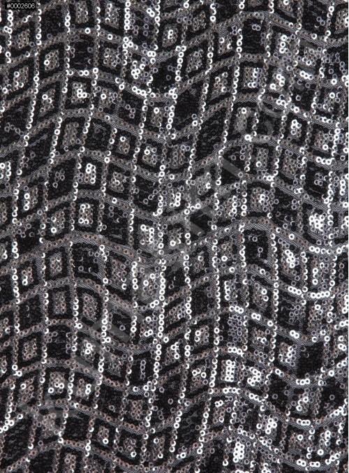 Dalga ve Kare Desenli Siyah Gümüş Payetli Kumaş - K9556
