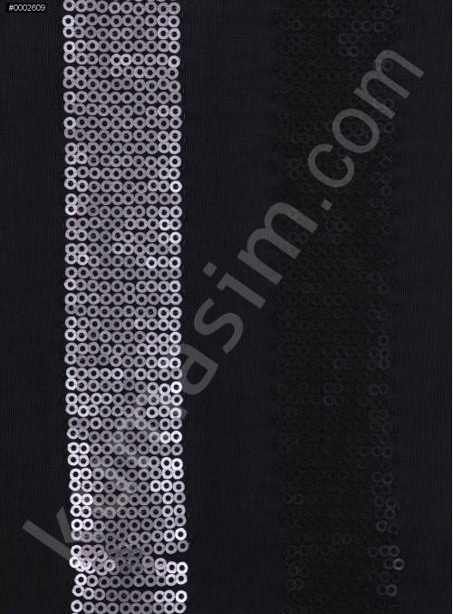 Jarse Üzeri Siyah ve Gümüş Payetli Şerit Desenli Kumaş - K9559