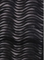 Yay Desenli 3 Boyutlu Lazer Kesim Siyah Kumaş - K9563