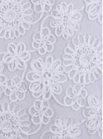 Çiçek Desenli Kordoneli Beyaz Kumaş - K9566