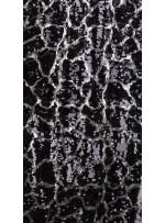 Duvar Desenli Küçük ve Büyük Payetli c2 Siyah Gümüş Kumaş - K9575