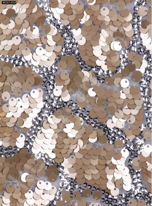 Duvar Desenli Küçük ve Büyük Payetli c3 Gold Gümüş Kumaş - K9575