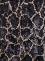 Duvar Desenli Küçük ve Büyük Payetli c4 Siyah Gold Kumaş - K9575