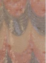 Dalga Desenli Pudra Payetli Abiyelik Kumaş