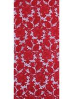 Çiçek Desenli Kalın Kırmızı Güpür Kordone Kumaş - K9578