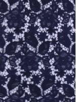 Çiçek Desenli Kalın Lacivert Güpür Kordone Kumaş - K9578