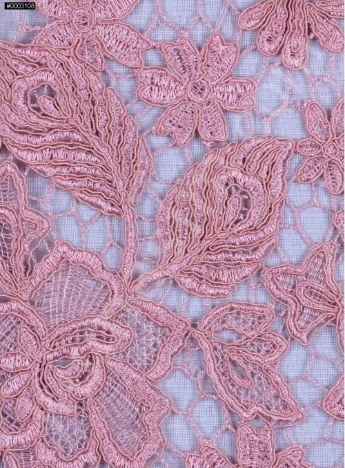 Çiçek Desenli Kalın Pudra Güpür Kordone Kumaş - K9578