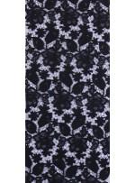 Çiçek Desenli Kalın Siyah Güpür Kordone Kumaş - K9578
