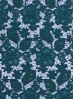 Çiçek Desenli Kalın Yeşil Güpür Kordone Kumaş - K9578