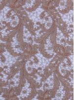 Çiçek Desenli Kalın Kordoneli Güpür Camel Kumaş - K9580