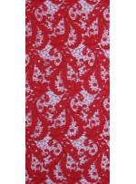 Çiçek Desenli Kalın Kordoneli Güpür Kırmızı Kumaş - K9580