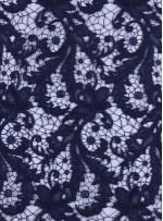 Çiçek Desenli Kalın Kordoneli Güpür Lacivert Kumaş - K9580