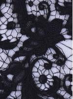 Çiçek Desenli Kalın Kordoneli Güpür Siyah Kumaş - K9580