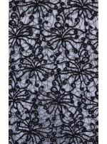 Karışık Desenli Simli File Kordone Siyah Kumaş - K9582