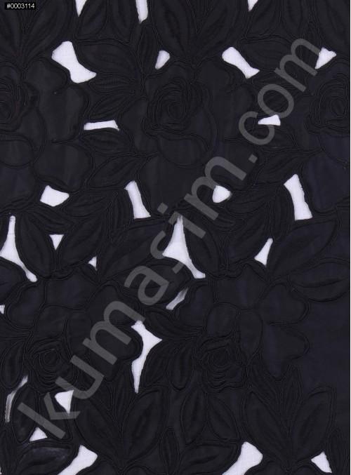 Siyah Saten Üzeri İşlemeli ve Lazer Kesim Elbiselik Kumaş - K9583