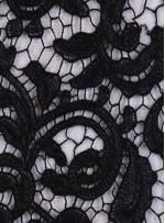 File Üzeri Araları Simli İşlemeli Kordoneli Siyah Kumaş - K9585
