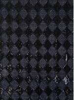 Baklava Desenli Lacivert Payetli Abiyelik Kumaş - K9588