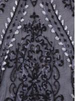 Etnik Desenli Gümüş Payetli Abiyelik Kumaş - K9603