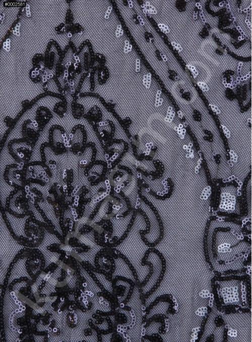 Etnik Desenli Kemik Payetli Abiyelik Kumaş - K9603