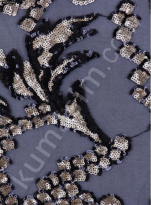Çift Renkli Gold ve Siyah Payetli Abiyelik Kumaş - K9605