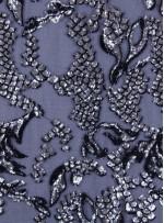 Çift Renkli Gümüş ve Siyah Payetli Abiyelik Kumaş - K9605