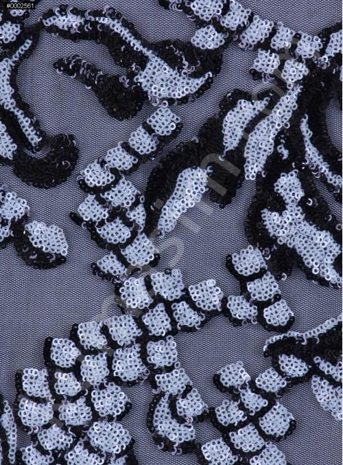 Çift Renkli Siyah ve Kemik Payetli Abiyelik Kumaş - K9605