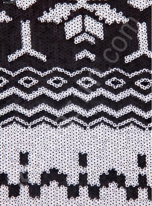 Kemik Etnik Desenli Payetli Abiyelik Kumaş - K9606