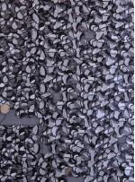 Daire Payetli Siyah Beyaz Baskılı Abiyelik Payetli Kumaş - K9607