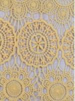 Daire ve Etnik Desenli Abiyelik Sarı Güpür - K9608