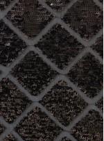 Baklava Desenli Mat Siyah Payetli Abiyelik Kumaş - K9610
