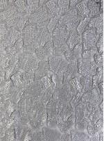 Kaya Desenli Gümüş Payetli Abiyelik Kumaş - K9612