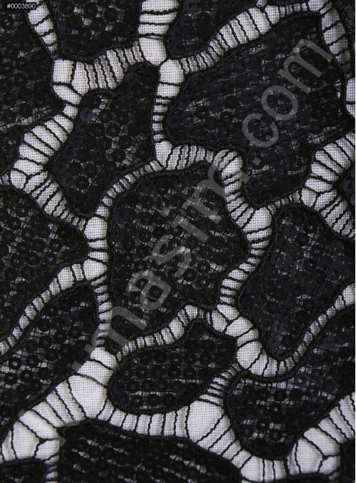 Kaya Desenli Mat Siyah Payetli Abiyelik Kumaş - K9612