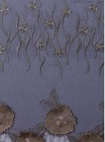 Siyah Tül Üzeri Gold Simli İşlemeli 3 Boyutlu Bindallı Kumaş - K9618