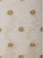 Beyaz Tül Üzeri Gold Çiçek Nakışlı Abiyelik Kumaş - K9619