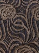 Gül Desenli Gold Nakışlı Abiyelik Kumaş - K9621