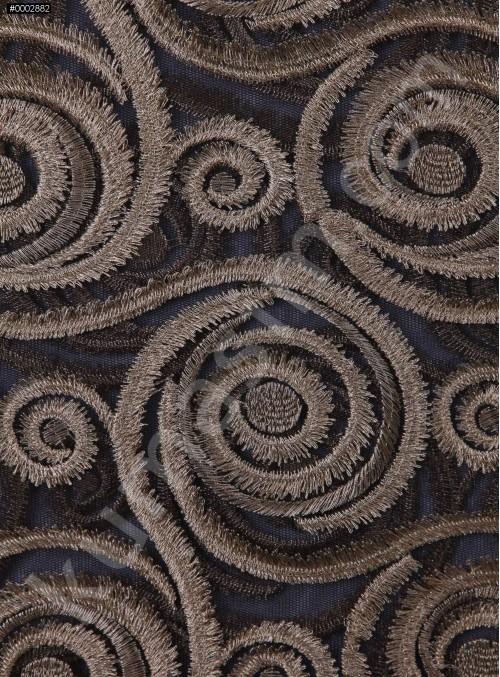 Girdap Desenli Tül Üzeri Gold Nakışlı Kumaş - K9623