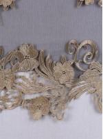 Eteği Sulu Üç Boyutlu Gold Abiyelik Kumaş - K9624