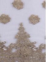 Kemik Tül Üzeri İşlemeli 3 Boyutlu Gold Simli Bindallı Kumaş - K9626