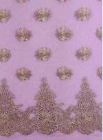 Mor Tül Üzeri İşlemeli 3 Boyutlu Gold Simli Bindallı Kumaş - K9626