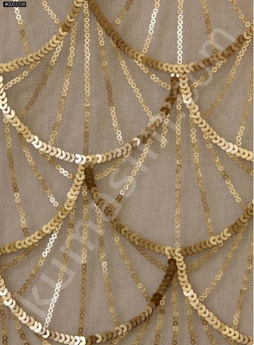 Tül Üzeri Dalga Desenli Gold Payetli Kumaş - K9628