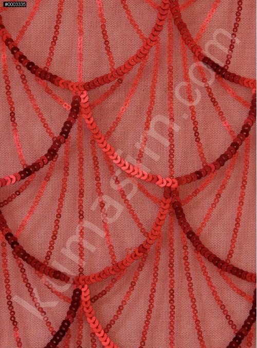 Tül Üzeri Dalga Desenli Kırmızı Payetli Kumaş - K9628