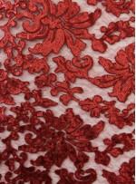 Desenli Tül Üzeri Bordo Nakışlı Payetli Abiyelik Kumaş - K9629