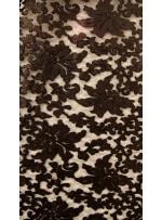 Desenli Tül Üzeri Mat Siyah Nakışlı Payetli Abiyelik Kumaş - K9629