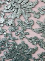 Desenli Tül Üzeri Mint Yeşili Nakışlı Payetli Abiyelik Kumaş - K9629